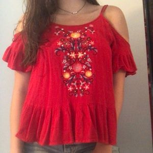 red off the shoulder embroidered top